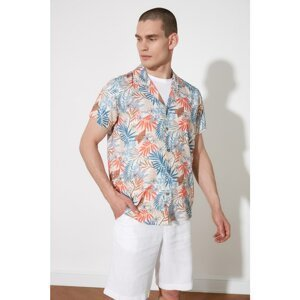 Trendyol Multicolored Men's Regular Fit Flannel Neck Short Sleeve Tropical Shirt