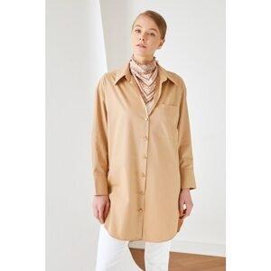 Trendyol Brown Shirt Collar Button Detailed Tunic