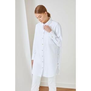 Trendyol White Shirt Collar Button Detailed Tunic