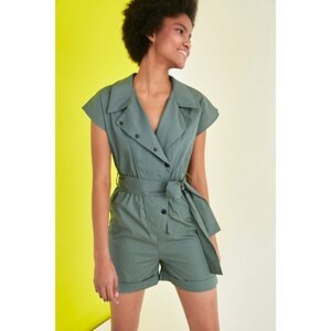 Trendyol Khaki Belted Button Detailed Overalls