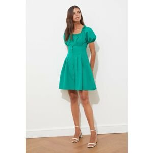 Trendyol Green Buttoned Square Neck Dress