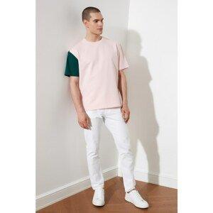 Trendyol Pink Men's Oversized Short Sleeve Contrast Sleeve Detailed Sweatshirt