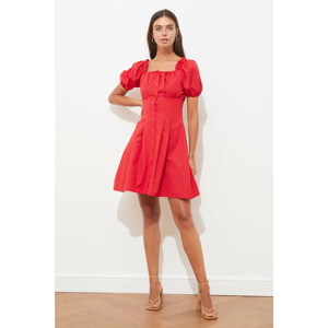 Trendyol Red Buttoned Square Neck Dress