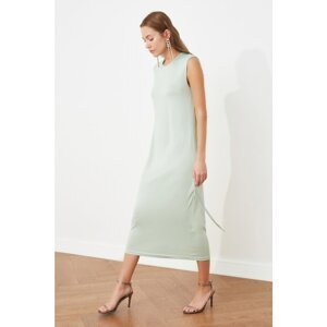 Trendyol Mint Gathered Detailed Knitted Dress