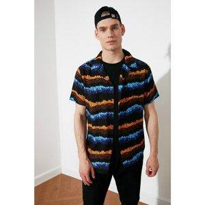 Trendyol Black Men's Regular Fit Apron Collar Short Sleeve Shirt