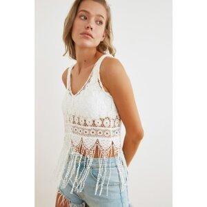 Trendyol Ecru Tassel Knitted Blouse