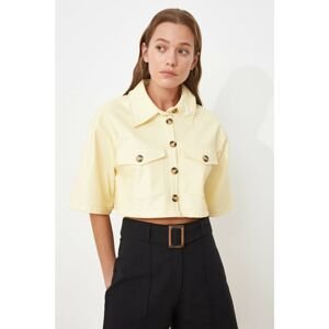 Trendyol Yellow Double Pocket Faux Leather Shirt