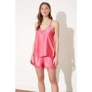 Trendyol Pink Satin Pajamas Set
