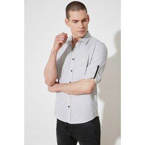 Trendyol Khaki Men's Button Collar Epaulet Slim Fit Shirt
