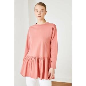 Trendyol Dried Rose Frilly Knitted Tunic