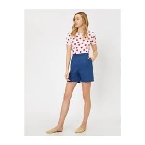 Koton Women's Navy Normal Waist Pocket Detailed Shorts
