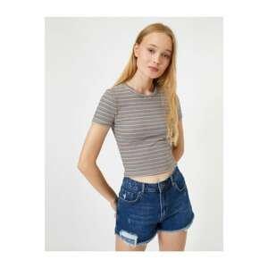 Koton Crew Neck Short Sleeve Slim Fit Striped T-Shirt