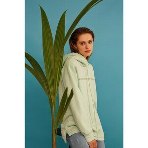 Koton Women's Green Cotton Hooded Printed Sweatshirt