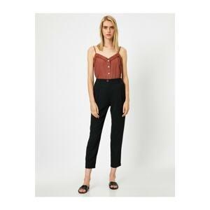 Koton Women's Black Pleated Pocket High Waist Trousers