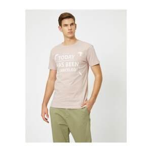 Koton Men's Pink Letter Printed T-Shirt