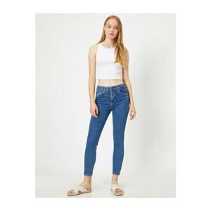 Koton Women's Blue High Waist Skinny Fit Carmen Jeans