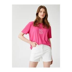 Koton Women's Slogan T-Shirt Crew Neck Cotton