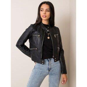 Black short eco-leather jacket