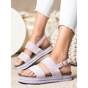 IDEAL SHOES SUEDE SANDALS ON THE PLATFORM