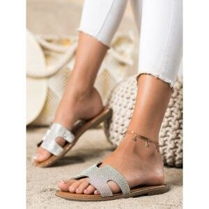 EVENTO SILVER FLIP-FLOPS WITH CRYSTALS