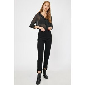 Koton Women's Black Normal Waist Slim Fit Trousers