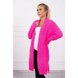 Sweater Cardigan weave the braid pink neon