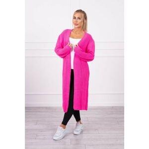 Sweater long cardigan pink neon