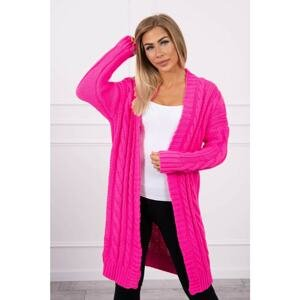 Sweater Cardigan with braid weave pink neon