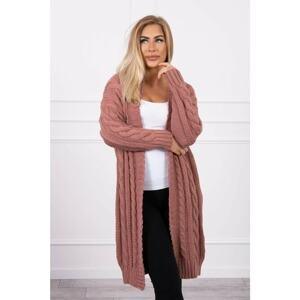 Sweater Cardigan with braid weave dark pink