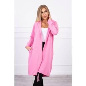 Cardigan with print oversize light pink