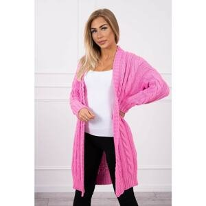 Sweater Cardigan with braid weave light pink
