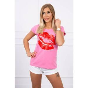 Blouse with lips print pink