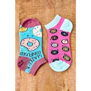 Mismatched Socks With Donuts Blue-Pink