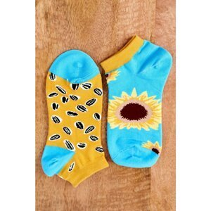 Mismatched Socks With Sunflowers Blue-Yellow
