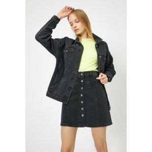 Koton Women's Black Jean Skirt