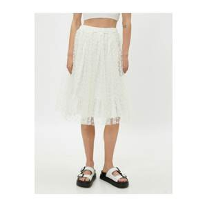 Koton Women's White Ruffled Floral Lace Tulle Skirt