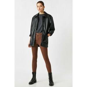 Koton Women's Brown Cotton Carmen Jean Trousers