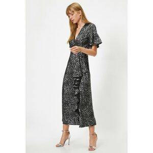 Koton Women's BLACK PATTERNED Leopard Patterned Dress Evening Dress With Flounces Short Sleeves