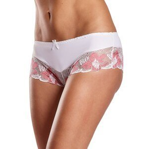Women's white and coral panties with floral lace