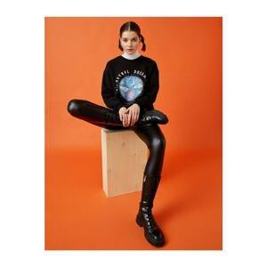 Koton Women's Black Cotton Crew Neck Printed Sweatshirt