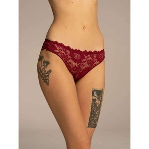 Ladies' maroon lace panties with a bow