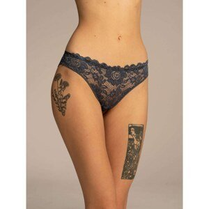 Ladies' navy blue lace panties with a bow