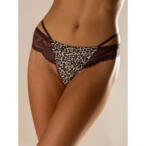 Dark purple thong with lace and print