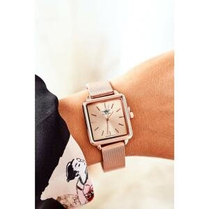 Watch With Square Dial Michael John Rose Gold