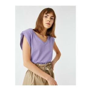 Koton Women's Purple Cotton Padded V-Neck T-shirt
