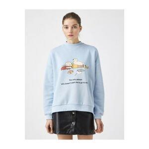 Koton Women's Blue Printed Sweatshirts