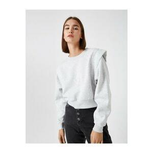 Koton Women's Gray Padded Crew Neck Sweatshirt
