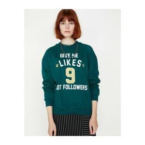 Koton Women's Green Letter Printed Sweatshirt