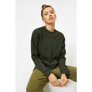 Koton Women's Green Crew Neck Sweatshirt