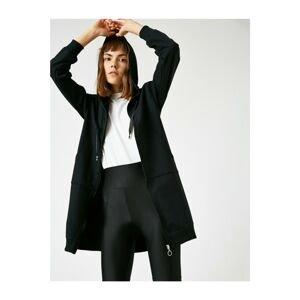 Koton Women's Black Hooded Zipper Long Sweatshirt